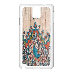 Blue Brown Cloth Design Samsung Galaxy Note 3 N9005 Case (White)