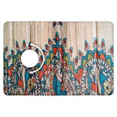 Blue Brown Cloth Design Kindle Fire HDX Flip 360 Case