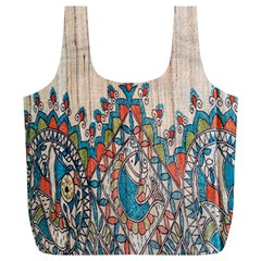 Blue Brown Cloth Design Full Print Recycle Bags (L)