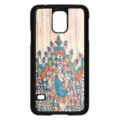 Blue Brown Cloth Design Samsung Galaxy S5 Case (Black)