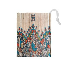 Blue Brown Cloth Design Drawstring Pouches (Medium)