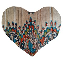 Blue Brown Cloth Design Large 19  Premium Flano Heart Shape Cushions