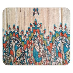 Blue Brown Cloth Design Double Sided Flano Blanket (Small)