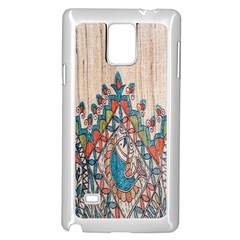 Blue Brown Cloth Design Samsung Galaxy Note 4 Case (white)