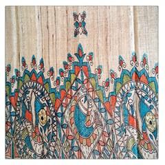 Blue Brown Cloth Design Large Satin Scarf (Square)