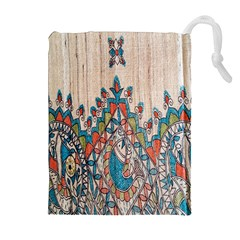 Blue Brown Cloth Design Drawstring Pouches (Extra Large)