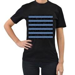 STR2 BK-MRBL BL-DENM Women s T-Shirt (Black) (Two Sided)