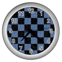 SQR1 BK-MRBL BL-DENM Wall Clocks (Silver)