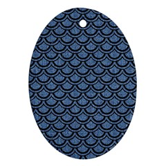 SCA2 BK-MRBL BL-DENM (R) Oval Ornament (Two Sides)