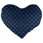 SCALES2 BLACK MARBLE & BLUE DENIM (R) Large 19  Premium Flano Heart Shape Cushion Front