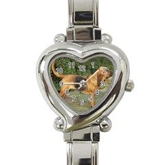 Bloodhound Black And Tan Full Heart Italian Charm Watch