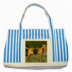 Bloodhound Black And Tan Full Striped Blue Tote Bag