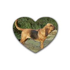 Bloodhound Black And Tan Full Rubber Coaster (Heart)