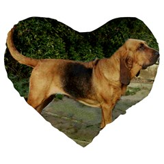 Bloodhound Black And Tan Full Large 19  Premium Heart Shape Cushions