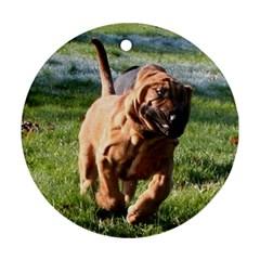 Bloodhound Running Ornament (Round)