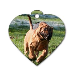 Bloodhound Running Dog Tag Heart (Two Sides)