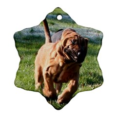 Bloodhound Running Snowflake Ornament (Two Sides)