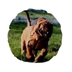 Bloodhound Running Standard 15  Premium Round Cushions