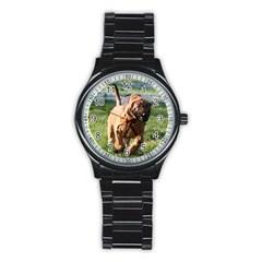 Bloodhound Running Stainless Steel Round Watch