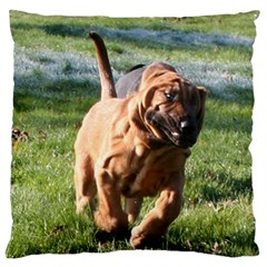 Bloodhound Running Large Flano Cushion Case (Two Sides)