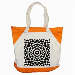 Checkered Black White Tile Mosaic Pattern Accent Tote Bag