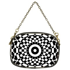 Checkered Black White Tile Mosaic Pattern Chain Purses (two Sides)