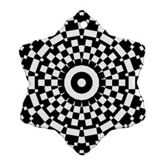 Checkered Black White Tile Mosaic Pattern Ornament (Snowflake)