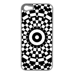 Checkered Black White Tile Mosaic Pattern Apple iPhone 5 Case (Silver)