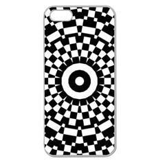 Checkered Black White Tile Mosaic Pattern Apple Seamless iPhone 5 Case (Clear)