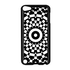 Checkered Black White Tile Mosaic Pattern Apple iPod Touch 5 Case (Black)