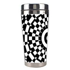 Checkered Black White Tile Mosaic Pattern Stainless Steel Travel Tumblers