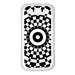Checkered Black White Tile Mosaic Pattern Samsung Galaxy S3 Back Case (White)