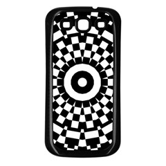 Checkered Black White Tile Mosaic Pattern Samsung Galaxy S3 Back Case (Black)