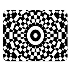 Checkered Black White Tile Mosaic Pattern Double Sided Flano Blanket (Large)