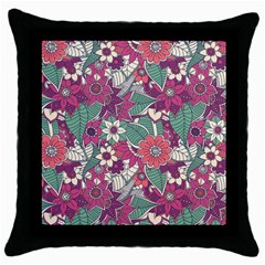 Seamless Floral Pattern Background Throw Pillow Case (Black)