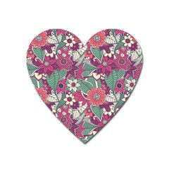 Seamless Floral Pattern Background Heart Magnet