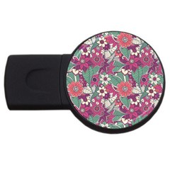 Seamless Floral Pattern Background USB Flash Drive Round (2 GB)