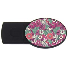 Seamless Floral Pattern Background USB Flash Drive Oval (1 GB)