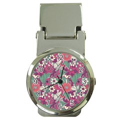 Seamless Floral Pattern Background Money Clip Watches
