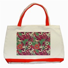 Seamless Floral Pattern Background Classic Tote Bag (Red)