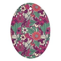 Seamless Floral Pattern Background Oval Ornament (Two Sides)