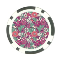 Seamless Floral Pattern Background Poker Chip Card Guard