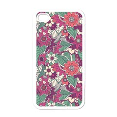 Seamless Floral Pattern Background Apple iPhone 4 Case (White)