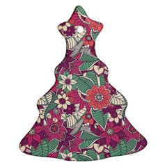 Seamless Floral Pattern Background Christmas Tree Ornament (Two Sides)