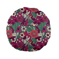 Seamless Floral Pattern Background Standard 15  Premium Round Cushions