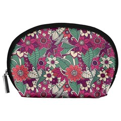 Seamless Floral Pattern Background Accessory Pouches (Large)