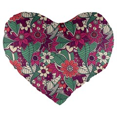 Seamless Floral Pattern Background Large 19  Premium Flano Heart Shape Cushions