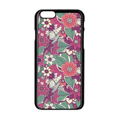 Seamless Floral Pattern Background Apple iPhone 6/6S Black Enamel Case