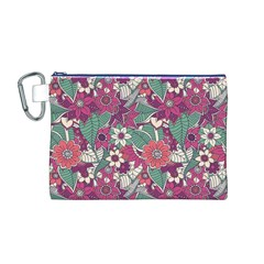 Seamless Floral Pattern Background Canvas Cosmetic Bag (M)