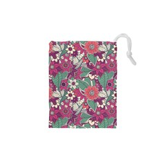 Seamless Floral Pattern Background Drawstring Pouches (XS)